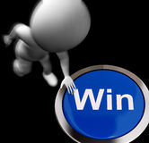 Win Pressed Shows Victory Or First Place. Win Pressed Showing Victory Or First Place Royalty Free Stock Photos
