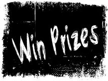 WIN PRIZES on black grunge background. Illustration image concept Royalty Free Stock Images