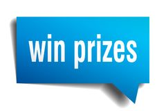 Win prizes blue 3d speech bubble. Win prizes blue 3d square isolated speech bubble Royalty Free Stock Image