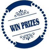 WIN PRIZES blue seal. Illustration graphic concept image Stock Images