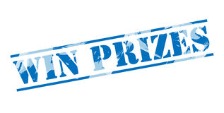 Win prizes blue stamp. Isolated on white background Stock Image
