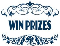WIN PRIZES blue text frames. Illustration concept image Stock Photos