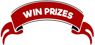 WIN PRIZES on red band. Illustration graphic concept image Royalty Free Stock Image