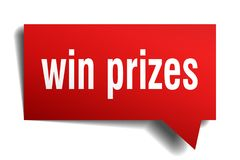 Win prizes red 3d speech bubble. Win prizes red 3d square isolated speech bubble Stock Images