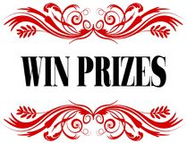 WIN PRIZES red floral text frame. Illustration concept Stock Image