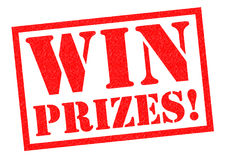 WIN PRIZES!. Red Rubber Stamp over a white background stock illustration