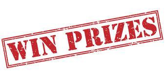 Win prizes red stamp Royalty Free Stock Image