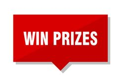 Win prizes red tag. Win prizes red square price tag Stock Photos