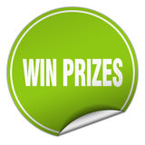 Win prizes round green sticker Stock Photography