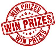 Win prizes stamp. Win prizes round grunge stamp isolated on white background Stock Photography