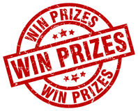 Win prizes round red stamp Stock Photo