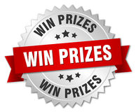 Win prizes silver badge. Win prizes 3d silver badge with red ribbon Stock Photography