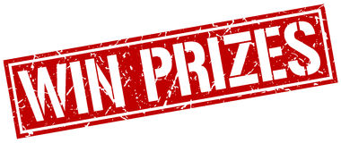 Win prizes square stamp Royalty Free Stock Images