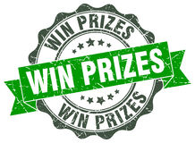 Win prizes stamp Stock Photo