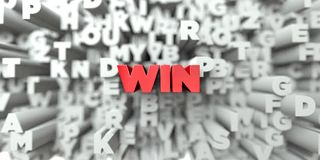WIN -  Red text on typography background - 3D rendered royalty free stock image Stock Image