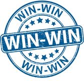 Win win round textured rubber stamp web bage. Blue grungy rubber stamp on white background Stock Photography