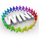 Win - Runners Around Word. The word Win surrounded by runners of different colors Stock Photo