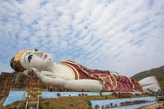 Win Sein Taw Ya, the largest Reclining Buddha image in the world, in Kyauktalon Taung, near Mawlamyine, Myanmar Stock Photos