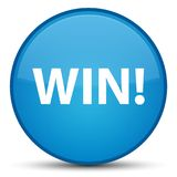 Win special cyan blue round button. Win  on special cyan blue round button abstract illustration Stock Image