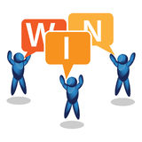 Win.  speech bubbles on white background. People Icon Stock Photos