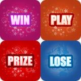Win, speel, Prijs, verlies Grafiek Royalty-vrije Stock Foto's