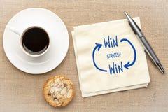 Win-win strategieconcept op servet royalty-vrije stock afbeelding