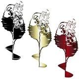 Win szkła z napojami i winorośl z jagodami, usterka ef ilustracja wektor