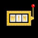Win text. Slot machine. Golden glowing lamp light. Red handle lever. Online casino, gambling club sign symbol. Flat design. Black Royalty Free Stock Photo
