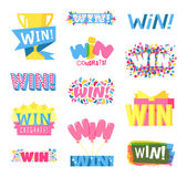 Win text vector set. Win sign with colour confetti vector paper illustration. Success luck message contest promotion win text. Banner competition award lucky stock illustration