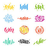 Win text vector. Win text sign vector test illustration. Success luck message contest promotion win text. Banner competition award lucky lottery word win text stock illustration