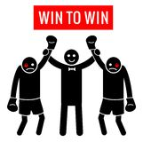 Win to Win. Business situation as boxing. Business concept - Winner and Winner or Looser and Looser. Stick Figure Pictogram Icons. Stock Photo
