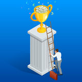 Win trophy success movement through obstacle Stock Photo