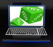Win, Try, Lose Dices On Laptop Shows Gambling Royalty Free Stock Photo