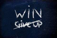 Win vs. give up concepts on blackboard Stock Photography