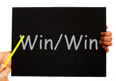 Win Win Blackboard Means Outcome Benefiting Both Sides Royalty Free Stock Photo