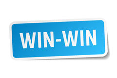 Win-win blue square sticker. Isolated on white Stock Photos