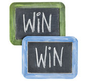 Win-win concept. White chalk writing on two small slate blackboard isolated on white stock photography