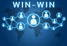 Win-Win. Concept on blue background with world map and social icons royalty free illustration