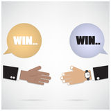 Win-win  concept ,businessman hands with speech bubble Stock Photography
