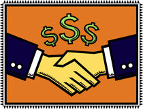 A Win-Win Deal!. An illustration of a handshake after successful negotiations, with dollar-signs signifying profitable gains stock illustration