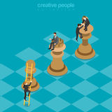 Win-win game strategy chess business flat 3d vector isometric Stock Photo
