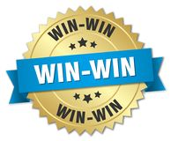 Win-win. Gold badge with blue ribbon royalty free illustration