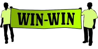 WIN WIN on a green banner carried by two men. Illustration graphic Royalty Free Stock Photos