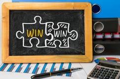 Win-win hand drawing on blackboard Stock Image