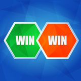 Win win in hexagons, flat design Stock Photos