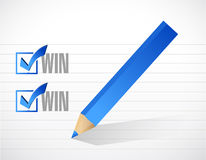 Win win pencil check mark illustration design Stock Images