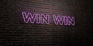 WIN WIN -Realistic Neon Sign on Brick Wall background - 3D rendered royalty free stock image Stock Photos