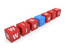 Win-win sign. 3d illustration of letter blocks spelling win-win business sign on white background stock image