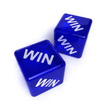 Win-Win Situation. Two blue, semi-transparent dice with the word WIN on them over white background stock image