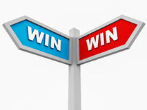 Win win situation. A win win situation with signboard pointing to win in either direction, concept of win win situation and creating a winning business strategy stock illustration